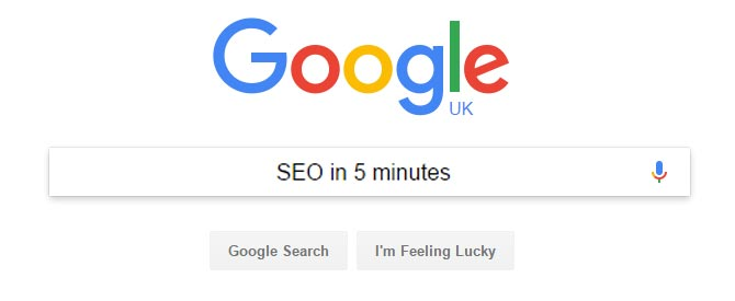SEO IN 5 MINUTES Search Engine Optimization (SEO) is often presented as a somewhat complicated, mysterious and semi-scientific subject. Is it?